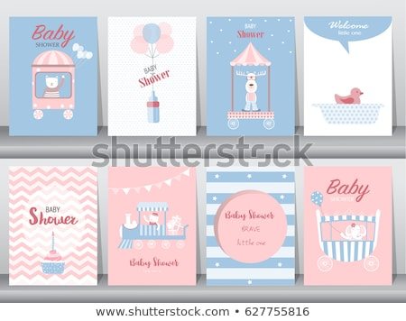 Foto stock: Bebê · chuveiro · cartão · brinquedo · trem · ilustração