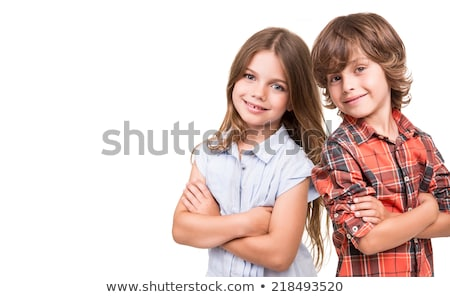Portret jongen meisje paar technologie achtergrond Stockfoto © zzve