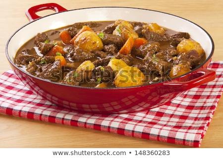 Marhapörkölt zöldségek fehér főzés sárgarépa zöldség Stock fotó © M-studio