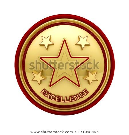 Vijf star uitmuntendheid zegel gouden sterren Stockfoto © creisinger