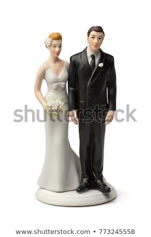 ślub para modeli tort weselny odizolowany biały Zdjęcia stock © gsermek