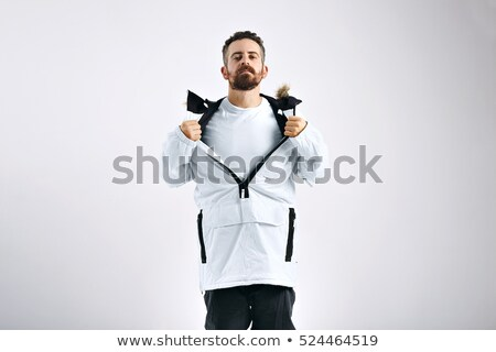 Man in showing white t shirt under his jacket Stock photo © stevanovicigor