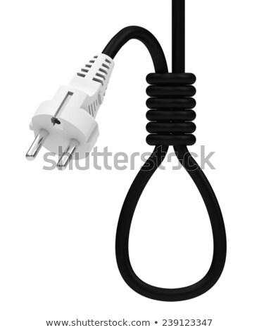 Elektrische kabel 3D gegenereerde foto elektriciteit Stockfoto © flipfine