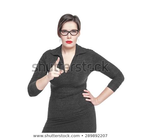 Portret poważny kobieta czarna sukienka biały dziewczyna Zdjęcia stock © deandrobot
