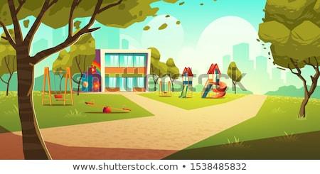 Zona · de · juegos · parque · árbol · ninos · feliz · deporte - foto stock © simazoran