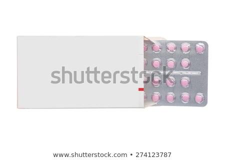 Foto stock: Cinza · caixa · rosa · pílulas · bolha · empacotar
