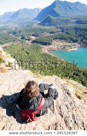 Woman enjoying rewarding view of  Rattlesnake Ledge Trail Stock photo © ozgur