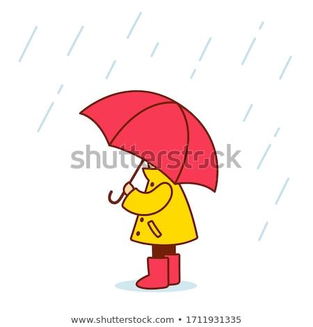 девушки зонтик счастливая девушка красочный вниз лестницы Сток-фото © bendzhik