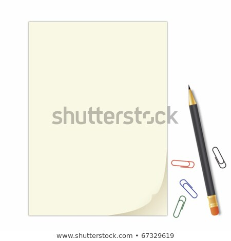 curled peel notepad with crayon and staples Stock photo © Nobilior