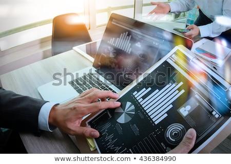 estatística · tela · dinheiro · telefone · trabalhar - foto stock © netkov1