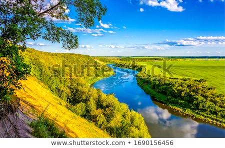 Yaz manzara nehir düşük bulutlar Stok fotoğraf © AlisLuch