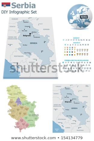 map of serbia subdivision kosovo district stock photo © istanbul2009