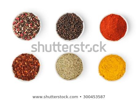 Top view of bowl of Organic Cumin seed. Stock photo © ziprashantzi