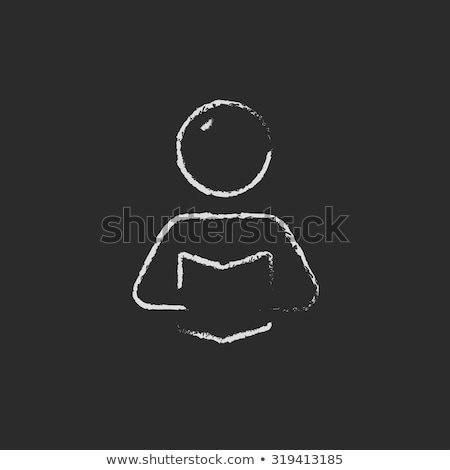 man reading a book icon drawn in chalk stock photo © rastudio