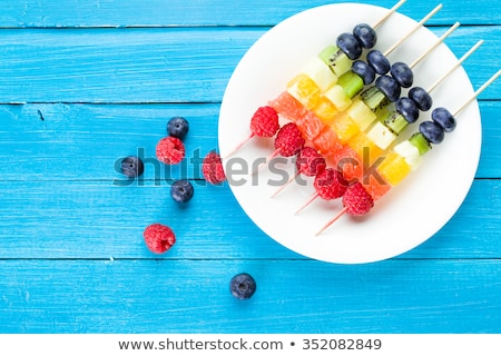 Healthy fruit kebabs with tropical summer fruit Stock photo © ozgur
