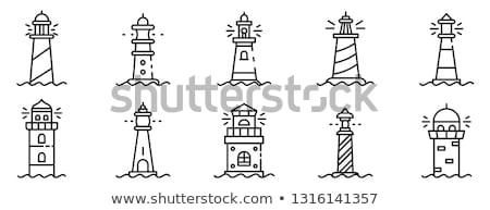 vuurtoren · icon · water · huis · gebouw · veiligheid - stockfoto © djdarkflower
