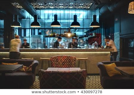 restaurant · vliering · stijl · kamer · houten · rack - stockfoto © bezikus