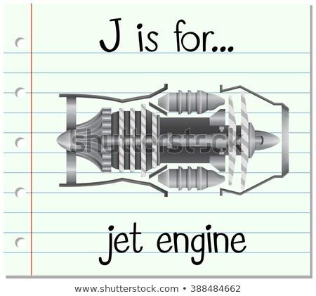 Flashcard letter J is for jet engine Stock photo © bluering
