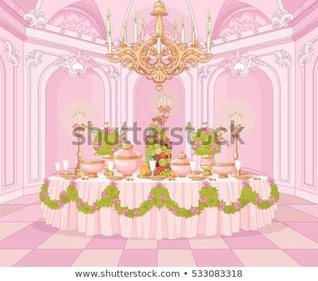 Eettafel prinses paleis geserveerd bloemen partij Stockfoto © Dazdraperma