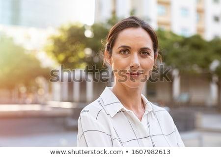 érett · spanyol · nő · mosolyog · kamera · portré · amerikai - stock fotó © diego_cervo