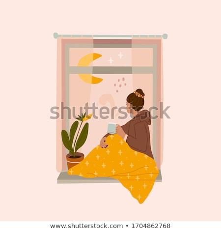 Kız pencere bakıyor dışarı çiçekler Stok fotoğraf © krysek