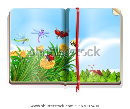Book with garden scene full of insects and flowers Stock photo © bluering