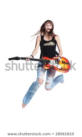 Foto d'archivio: Signora · chitarra · jumping · immagine · bella