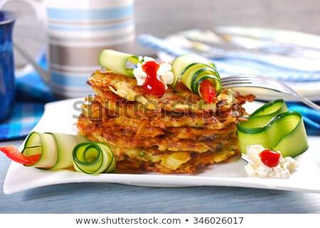 Zucchini Kartoffel Pfannkuchen frischen weiß Stock foto © hamik