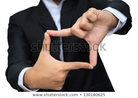 пальца · кадр · улыбаясь · азиатских · деловой · человек - Сток-фото © szefei