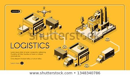Jaune société livraison forfaits battant travailleurs Photo stock © Jesussanz