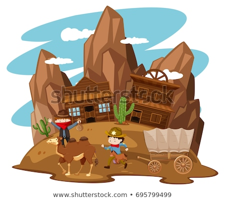 Kids playing cowboy in western town Stock photo © bluering