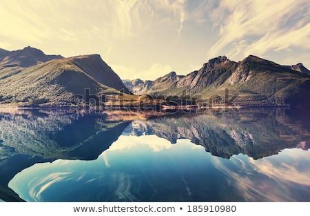 Aldeia Noruega montanhas casas igreja rio Foto stock © compuinfoto