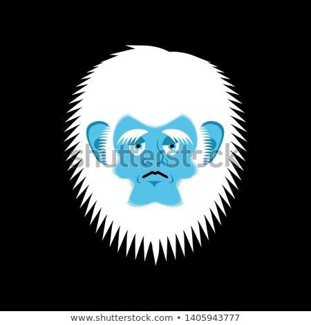Yeti sad emoji. Abominable snowman melancholy avatar. Bigfoot wa Stock photo © popaukropa