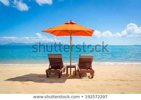 ocean scenes with umbrellas on beach stock photo © bluering