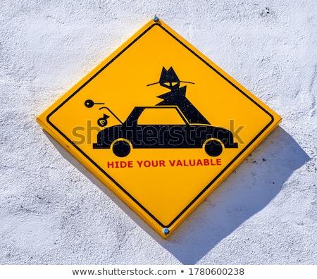 Figyelmeztető jel autó felirat Stock fotó © pictureguy