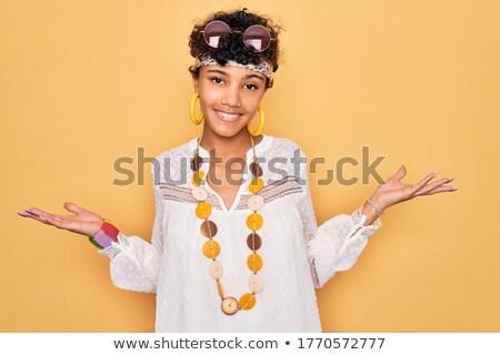 Jovem africano hippie mulher palma Foto stock © RAStudio