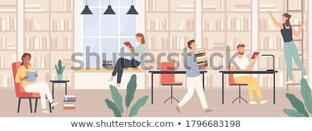 Estudiante lectura libro de texto vector joven masculina Foto stock © robuart