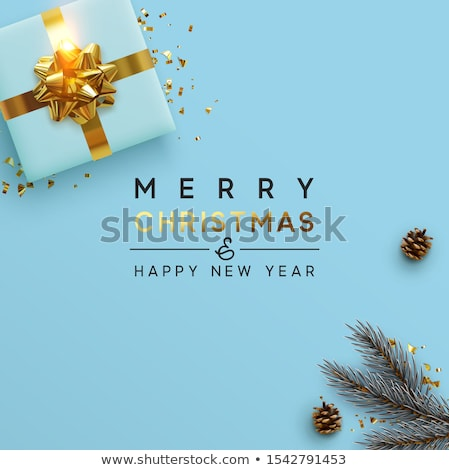 Vector Merry Christmas Illustration on Brown Background with Typography and Holiday Light Garland, P Stock photo © articular