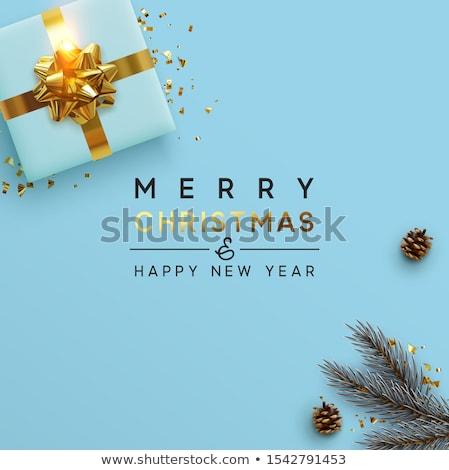 neşeli · Noel · bağbozumu · çelenk · kart · renkler - stok fotoğraf © articular