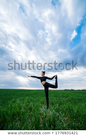 Woman performing handstand on beach Stock photo © IS2