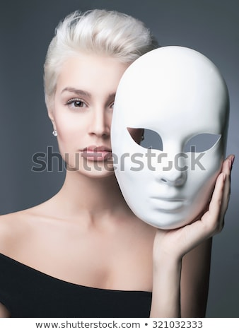güzel · sarışın · kadın · altın · karnaval · maske - stok fotoğraf © lithian