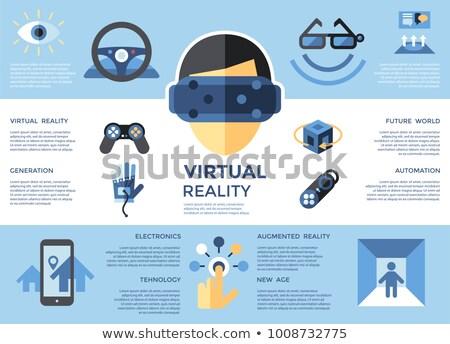 Digitális vektor virtuális valóság szett gyűjtemény Stock fotó © frimufilms