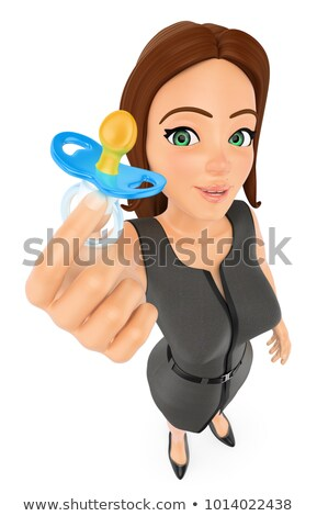 3D zakenvrouw fopspeen werk leven evenwicht Stockfoto © texelart