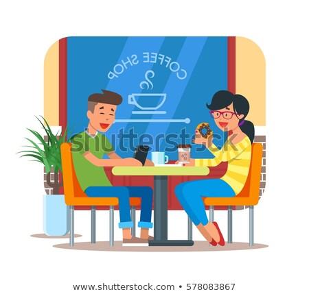 Człowiek kawy pączek obraz kubek Zdjęcia stock © cteconsulting