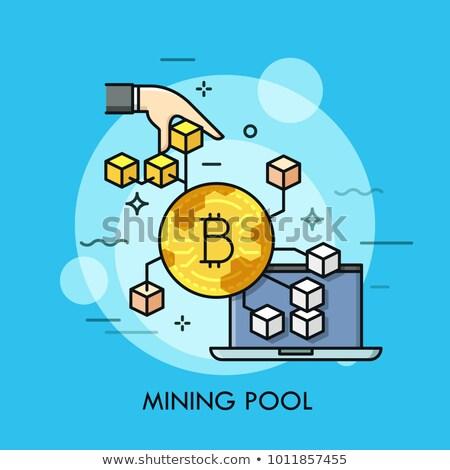 Bitcoin minière piscine icône modernes ordinateur Photo stock © WaD