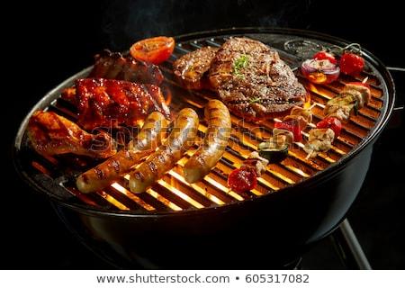 Kömür barbekü ızgara sosis yalıtılmış ikon Stok fotoğraf © studioworkstock