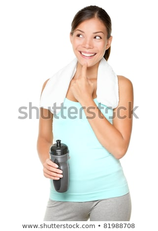 beautiful gym woman thinking and looking to side stock photo © feedough