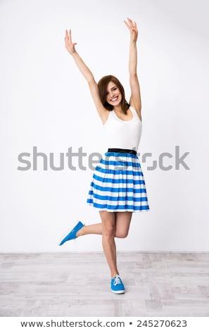 Tinilány kéz felfelé mosolyog lány kezek Stock fotó © monkey_business