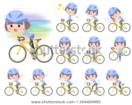 Mash hair blue wear women ride on rode bicycle Stock photo © toyotoyo