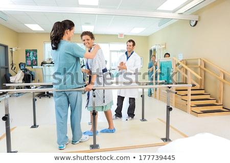 Hasta terapist yürüyüş kadın destek ahşap Stok fotoğraf © AndreyPopov